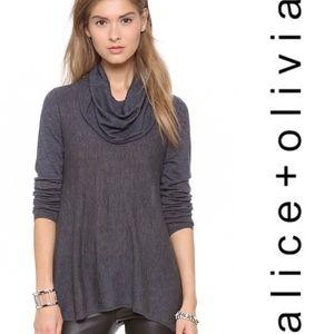 Alice + Olivia •Draped Cowl Neck Top Sweater M